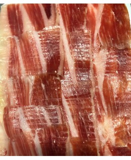 100 g. packaging of hand-cut Iberian Cebo Ham 50% Iberian Race